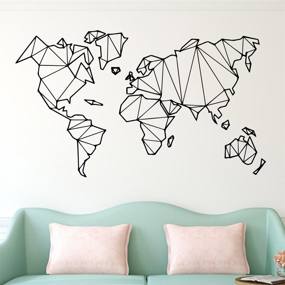>Large Size Geometric World Map Wall Sticker Vinyl Mural Removable Bedroom Decor Stickers <font><b>Home</b></font> Living <font><b>Room</b></font> <font><b>Decoration</b></font> Accessories