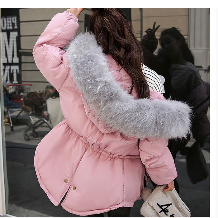 Manteau D'hiver blanc noir 6803 Nouvelle Pink Femmes Coton Col gris pink Mode Vêtements Black Pardessus Rembourré Parkas De Fourrure pHPHfxwE