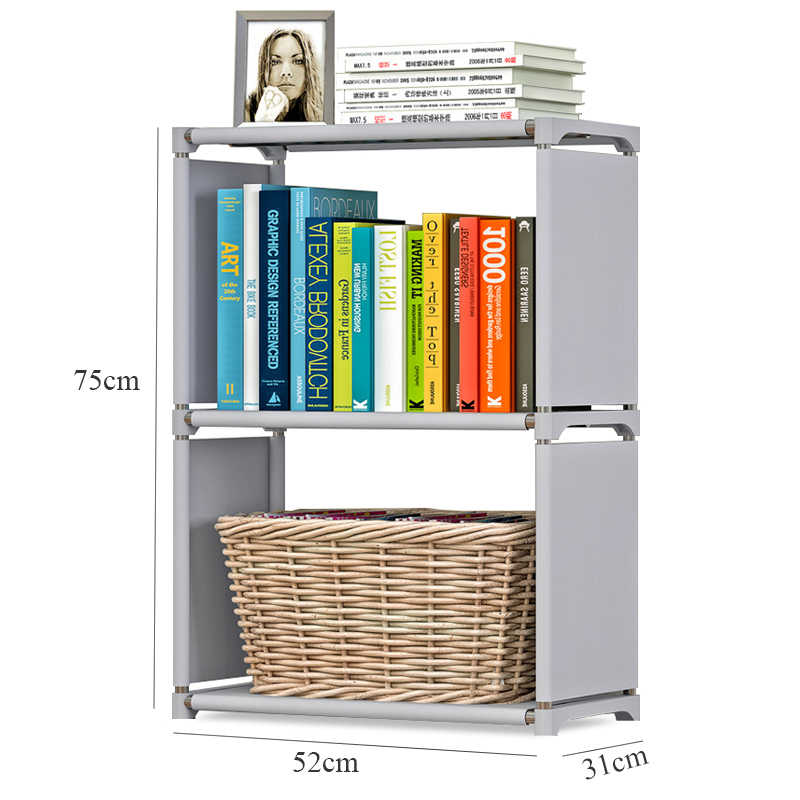 quality design 16ed4 49948 3 Tier Simple Bookshelf Assembled Nonwoven Fabric Student Book Storage  Oragnizer Kids Small Shelf Bookcase for Home Decoration