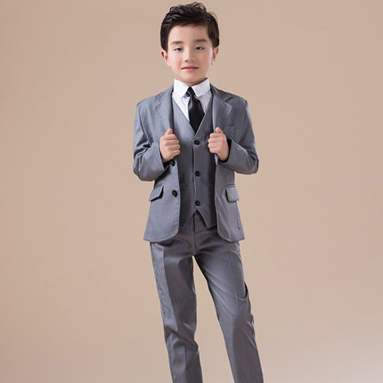 ФОТО 5pcs High quality 2017 new fashion baby boys kids blazers boy suit for weddings prom formal Silvery gray dress wedding boy suits