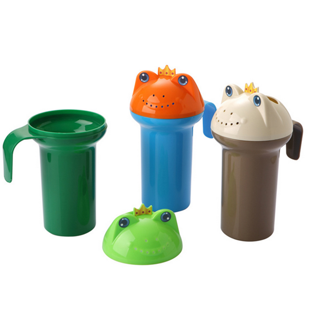2Pcs New Design Frog Baby Bath Shampoo Water Scoop Plastic Cup Bailer for