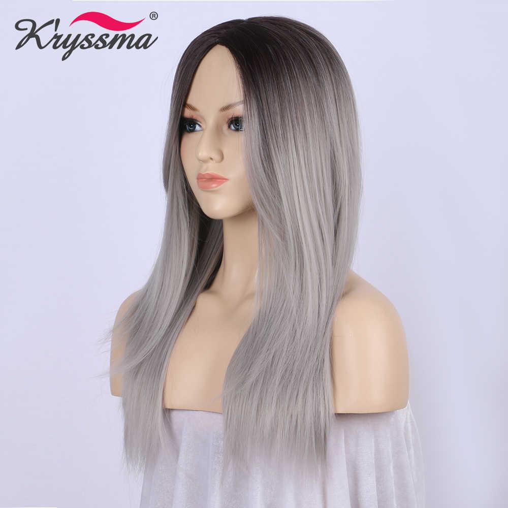 Парик Ombre темные корни к Silver Grey парик длинные прямые синтетические парики для Для женщин с челкой Glueless термостойкие волокно