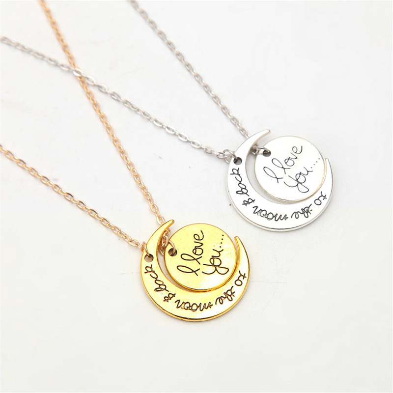 Love Necklace Round Pendants Vintage Gold Silver Plated Moon Pendant Necklaces Jewelry for Women Fashion Valentine's D Gift