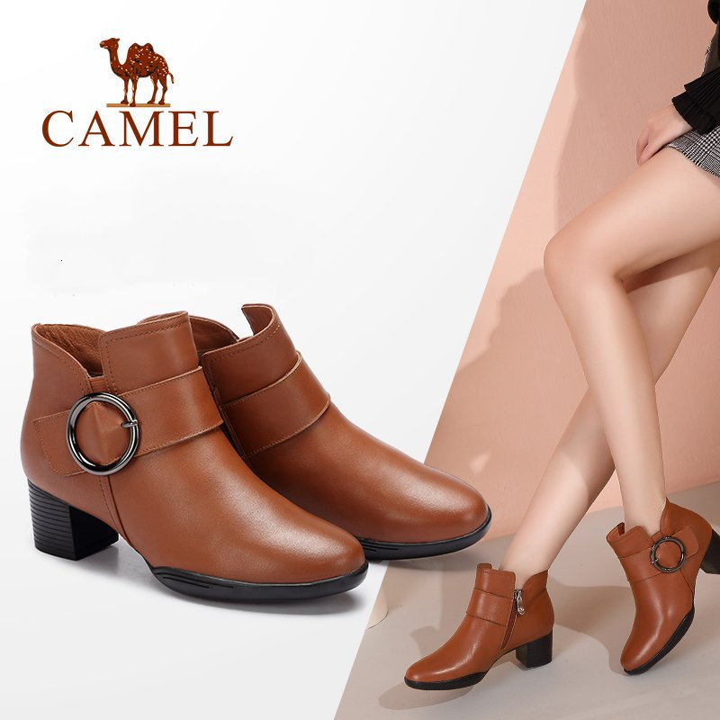 CAMEL Women Boots Shoes 2018 Winter Fashion Leather Square Heel Boots Shoes Women Tube Female Plus Velvet Female Boots camel camel boots cowhide thick heel rivet velvet fashion pointed toe boots vintage casual thermal boots