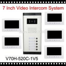 """2016 Nueva Llegada 7 """"vídeo Apartamento Teléfono De La Puerta de Intercomunicación Kit 5 Monitores 1 Cámara Al Aire Libre para 5 Familia Blanca Casa de Seguridad Del Sistema"""