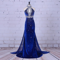 Luxury Evening Gowns High Neck Beaded Velvet Crystals Mermaid Royal Blue Prom Dress robe de soiree 2019 abendkleider kurz