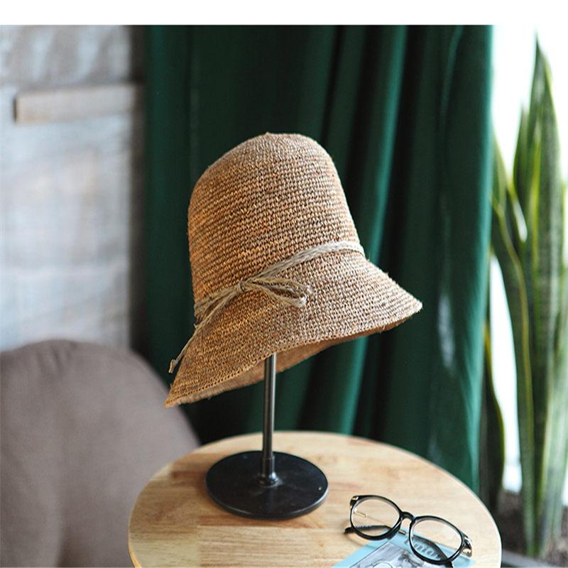 2018 Donne di Estate di Viaggio Forcella Bacino Pescatore Cappelli di Protezione Solare Pieghevole Solido Casual Cappello di Paglia 0083