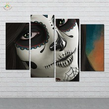4 Pieces/set Sugar Skull Wall Decor Painting Canvas Art HD Print Picture For Home Decoration
