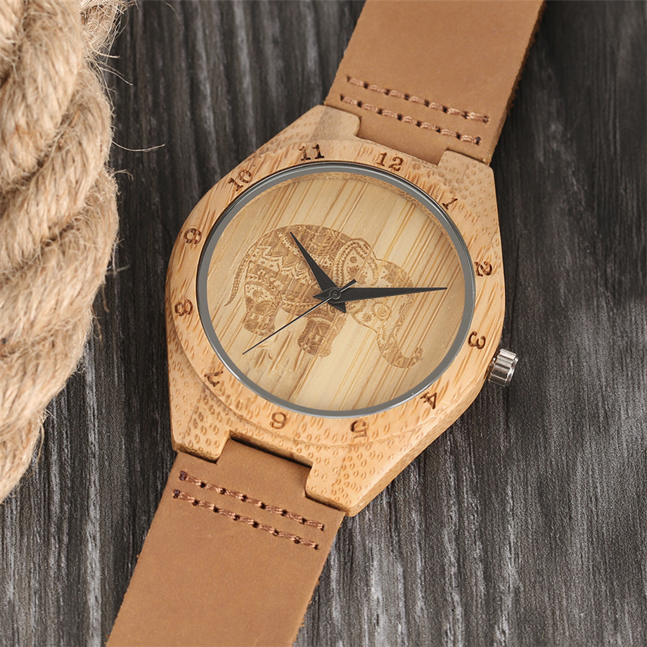 Boho Style Wooden Watch Women Creative Elephant Carving Dial Nature Wood Case Novel Gift Casual Wristwatches relogio masculino (14)