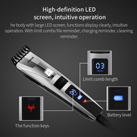 Riwa Professional Hair Trimmer Clipper Electric Haircut Cutting Machine LCD Display Washable 3 22mm Comb Hairdresser