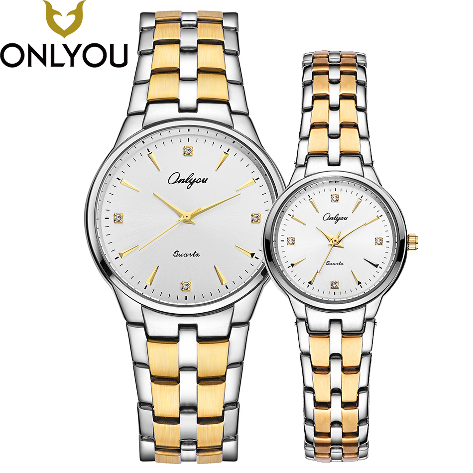 ONLYOU Lover Watches Couple Luxury Diamond Gold Watch Women Fashion Wristwatch Men Business Stainless Steel Quartz Clock onlyou men s watch women unique fashion leisure quartz watches band brown watch male clock ladies dress wristwatch black men