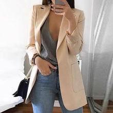 Новое поступление, Женский Осенний Элегантный Приталенный повседневный деловой блейзер с длинным рукавом, Офисная куртка, пальто, верхняя одежда