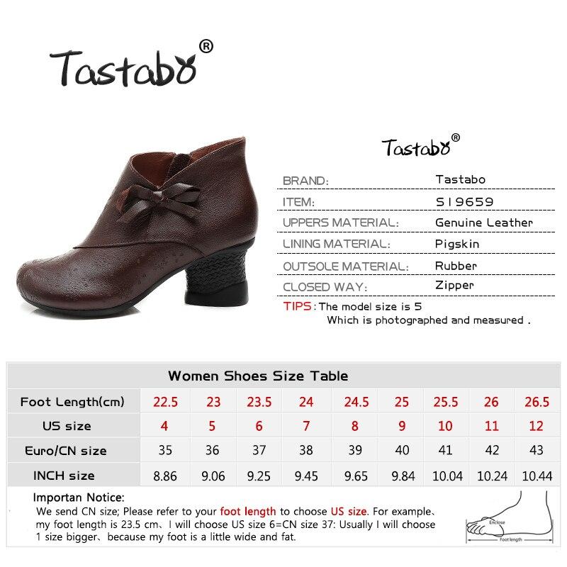 Tastabo Vintage hoge hak vrouwen laarzen Zwart bruin dames schoenen Comfortabele casual schoenen slijtvast rubberen zool Handgemaakte-in Enkellaars van Schoenen op  Groep 3