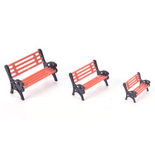 1PCS Modern Park Benches Miniature Crafts Toys Fairy Garden Miniatures Accessories For Doll House Home Decor(China)
