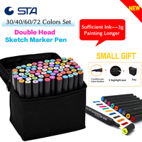 STA Art Sketch Marker Pen 20 30 40 60 80 Colors Copic Double Head Alcohol Based