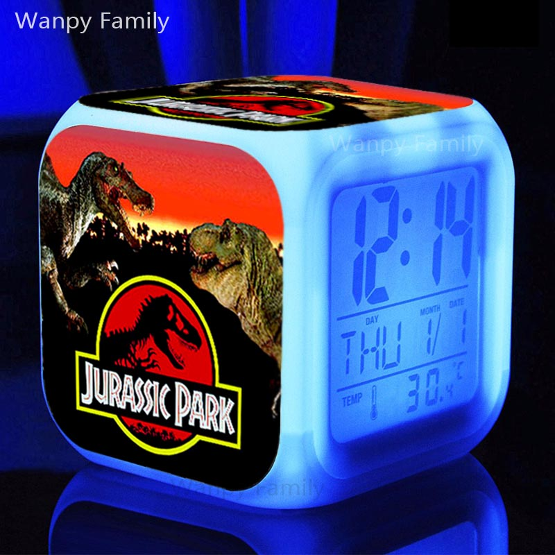 Dinosaur JURASSIC PARK Alarm Clocks, Kids Toys doll Alarm Clock Glowing LED Color Change Digital Alarm Clock