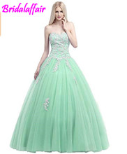 Okaybrial Womens Girls Prom Dresses Sweetheart Neck Tulle Appliqued Puffy Quinceanera blue quinceanera dresses