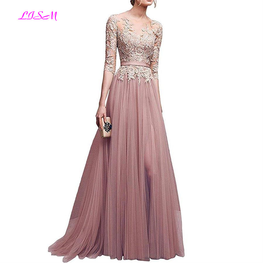 Half Sleeve Lace Applique Tulle Prom   Dress   A Line Slit Formal Party Gown Illusion Long Scoop   Bridesmaid     Dresses   vestido de festa