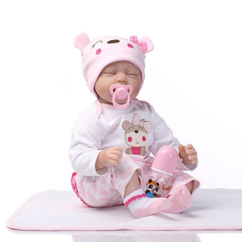 Simulation Reborn Baby Child Dolls Soft Silicone Closed Eyes Kids Cloth Doll Toy Newborn Babies Gift Toys 3-7 year old npkcollection55cm soft silicone newborn baby doll with eyes closed simulation to accompany sleep toys silicone reborn baby doll
