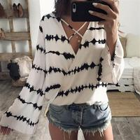 Summer Chiffon Blouse Print Women Loose Long Sleeve Stripe Crop Tops Overlapping Casual Women Blouse Striped
