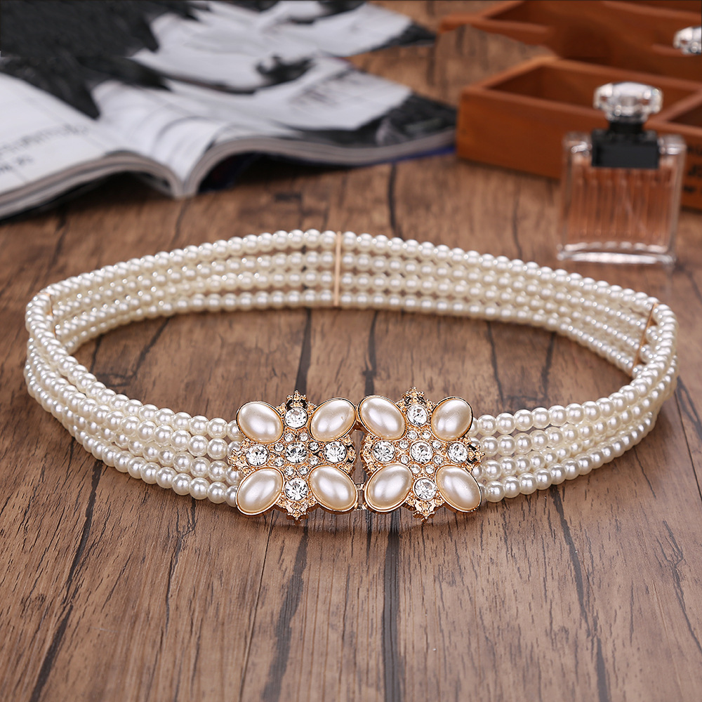 Korean Women's Pearl Decorative Dress Wide-stretch Elastic Dress And Accessories Waist Belts Women Luxury Fashion Waist Belt