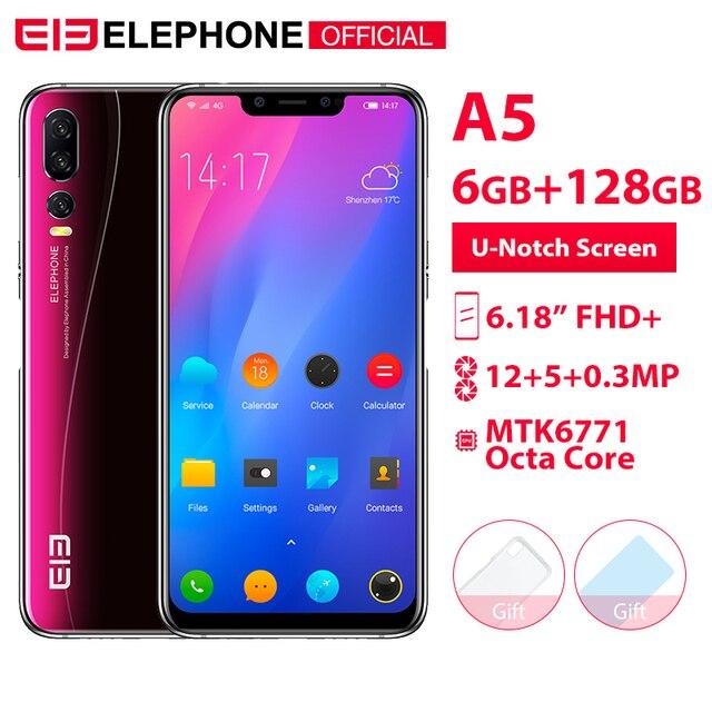 Elephone A5 6 GB 128 GB 6,18 pulgadas FHD u-notch pantalla teléfono móvil Android 8,1 MTK6771 Octa Core 20MP 4000 mah Cámara 4G Smartphone
