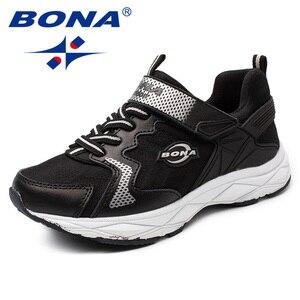 Image 4 - BONA Yeni Popüler Tarzı Çocuk rahat ayakkabılar Kanca ve Döngü Kızlar Ayakkabı Sentetik Erkek Loaferlar Açık Moda Spor Ayakkabı