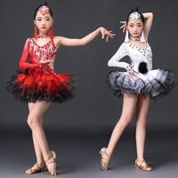Латинский платье для танцев для девочек Для детей юбка пачка сексуальные костюмы высококлассные Латинской платье для танцев es конкурс прои