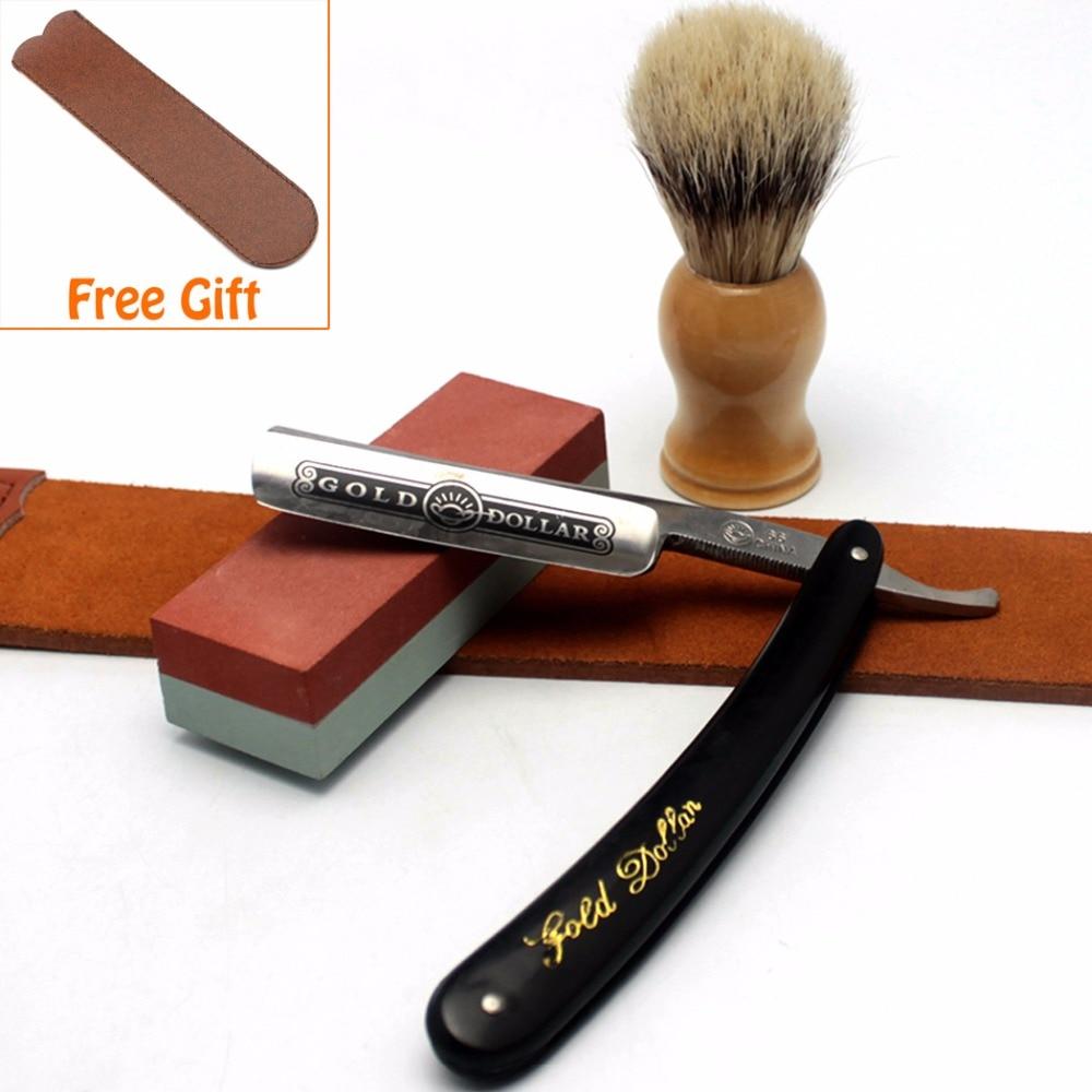 ZY Shaving Razor Brush Razor Leather Strop Dual Oilstone Sharpener Barber Shaving Kit  180 400 800 1500 oilstone edge sharpener 4 pcs