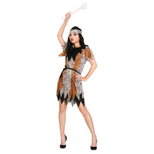 Cheap Adult Women Halloween Indian Costume Outfit Jungle Fever Warrior Suits Carnival Primitive Pocahontas Costume For Girls