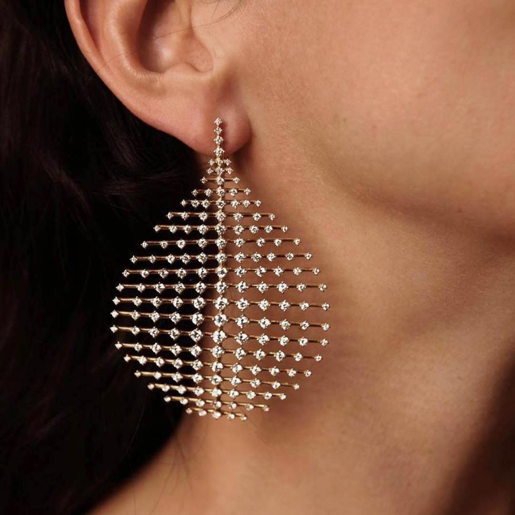 2020 Big Geometric Elegant Women Hollow Rhinestone Drop Pendant Earrings Party Banquet Modern Female Valentine's Day Present