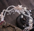 White Flower Bridal Crystal Simulated Pearl Headband Tiara Crowns Wedding Hair Accessories Jewelry Noiva Bijoux de tete