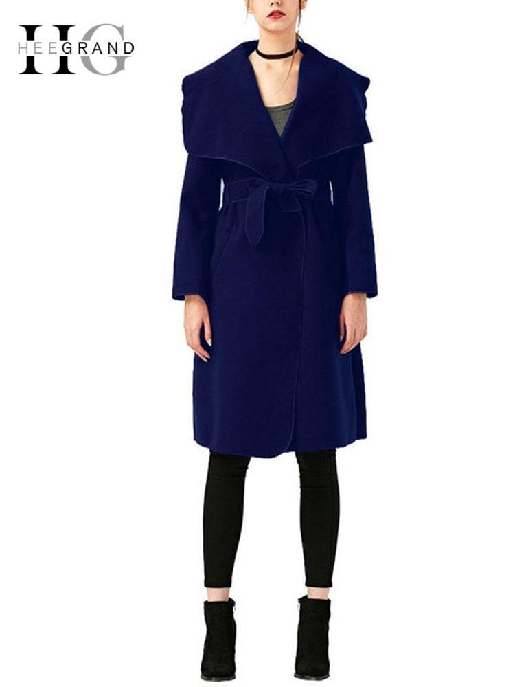 HEE GRAND 2018 Winter Coat Women Outwear Oversize Long Red   Trench   Coat Wool Coats Wide Lapel Belt Pocket Wool Blend Coat WWF914