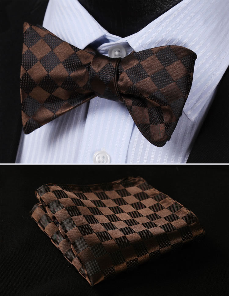 BC329Z Brown Check 100%Silk Jacquard Woven Men Butterfly Self Bow Tie BowTie Pocket Square Handkerchief Hanky Suit Set