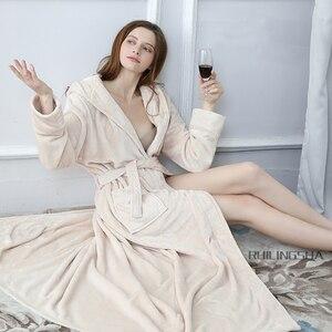 Image 4 - คนรัก Hooded ยาวพิเศษความร้อนเสื้อคลุมอาบน้ำผู้หญิง Plus ขนาดฤดูหนาวหนา Robe Dressing Gown ชุดเพื่อนเจ้าสาว Robes