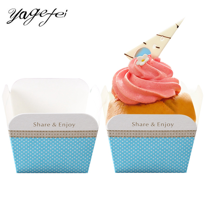 100Pcs/set Muffin Cupcake Paper Cups Cake Cups Ice Cream Boxes Cake Mold Square Cupcake Baking Cups Paper Cases Bakeware Tools