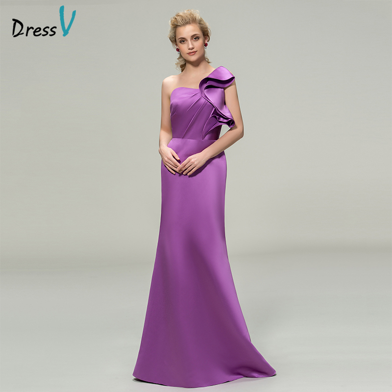 Dressv Purple Long Bridesmaid Dress One Shoulder Sheath Sleeveless ...