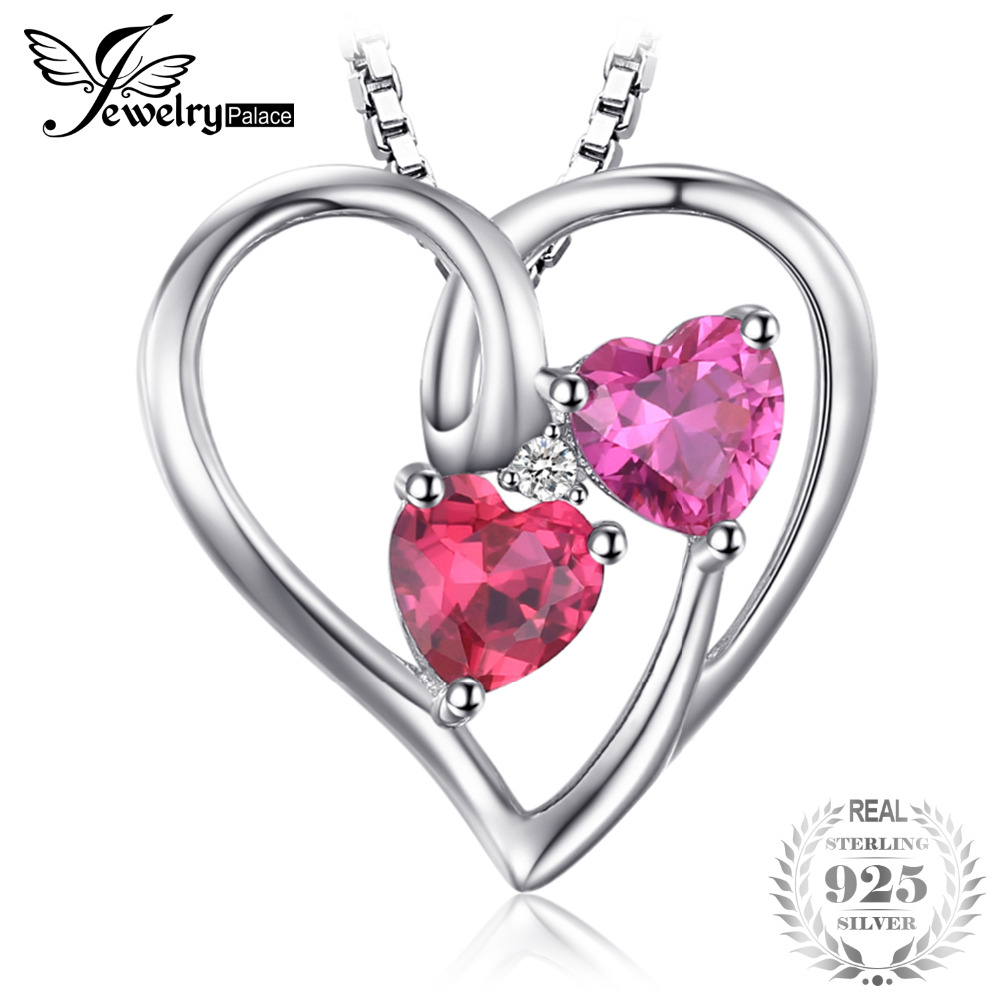 4.20CT Halo Ruby Double Heart Gemstone Pendant /& Necklace14K Yellow Gold