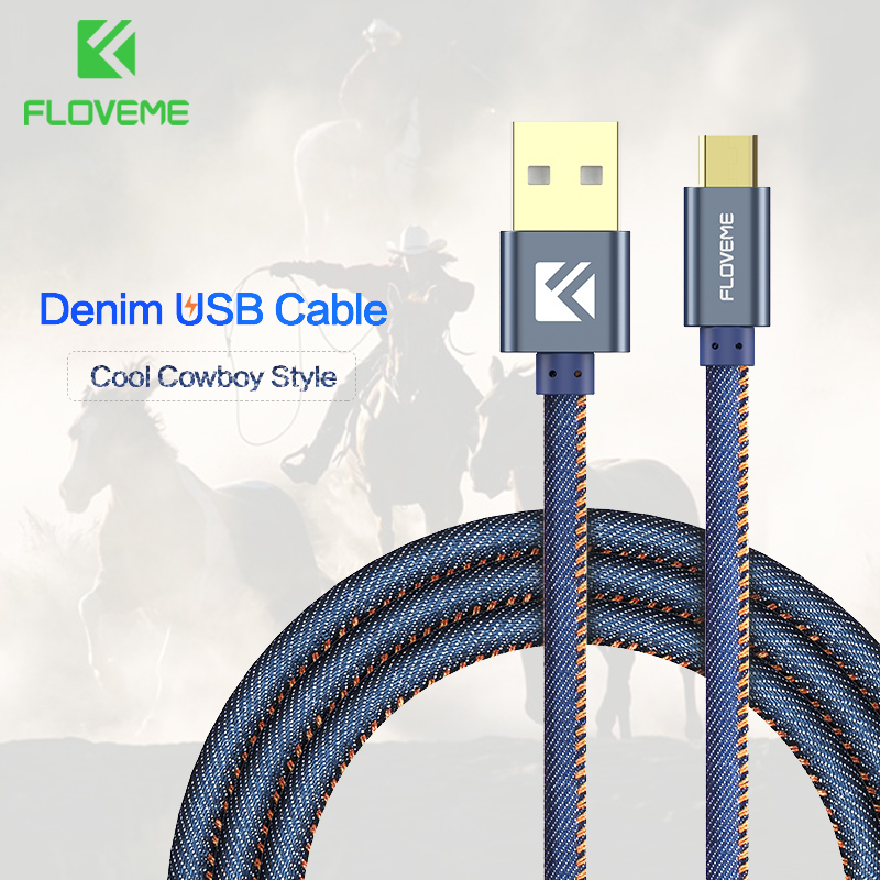 FLOVEME USB кабель для iPhone 5 5S 6 ковбой Жан Micro Тип usb C кабель для samsung S9 No ...
