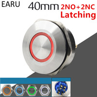 40MM 2NO 2NC Stainless Steel Metal Latching Waterproof Doorbell Bell Horn LED Push Button Switch Car