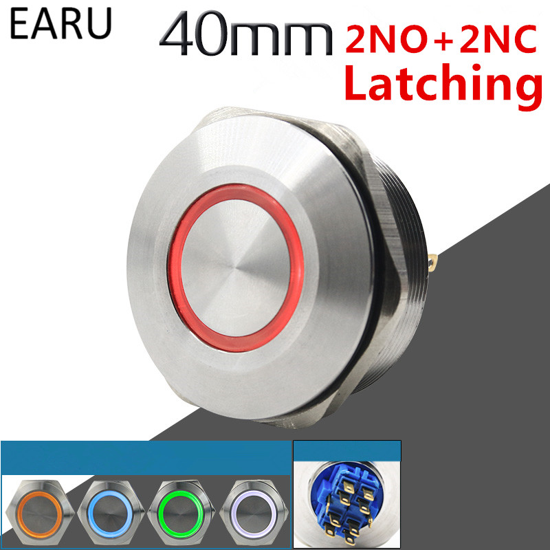 цена на 40MM 2NO 2NC Stainless Steel Metal Latching Waterproof Doorbell Bell Horn LED Push Button Switch Car Auto Engine Start PC Power