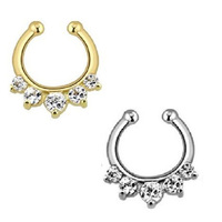 1pcs Taboo Style Gold And Silver Nose Rings And Studs Screws Crystal Clip Non Piercing Fake