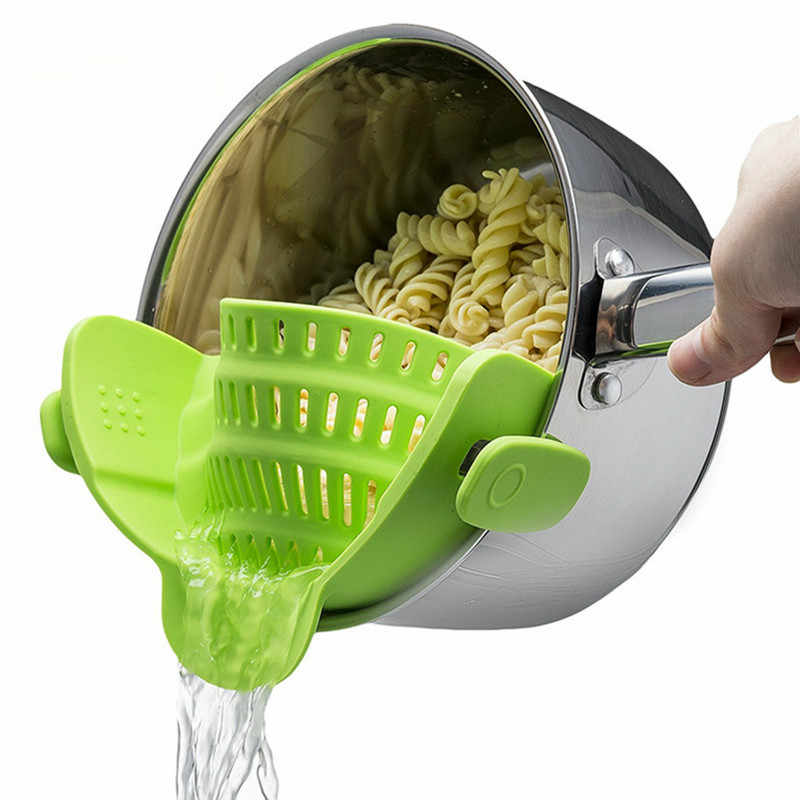 Silicone Pot Pan Bowl Funnel Strainer Kitchen Rice Washing Colander Kitchen Accessories
