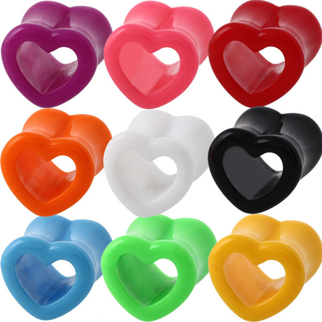 1 Pair Acrylic Love Heart Ear Piercings For Women Plugs And Tunnels ...