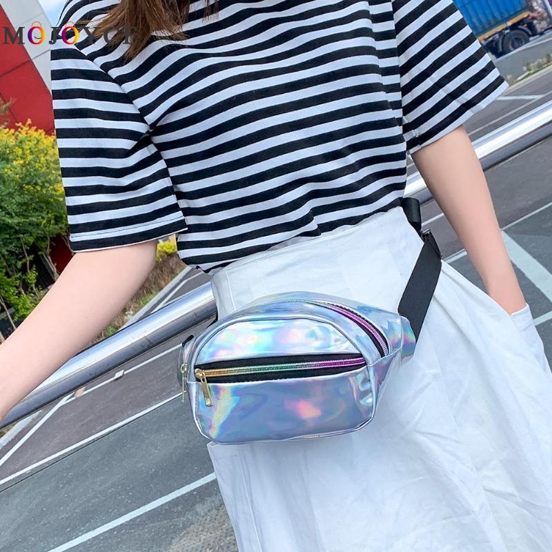 Punk Laser Waist Bag Women Fashion Bright Leather Belt Bag Chic Female Fanny Pack