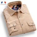 Langmeng 100% cotton mens corduroy shirt men Long Sleeve Casual Shirt Mens business social camisa masculina 2015 Autumn Spring