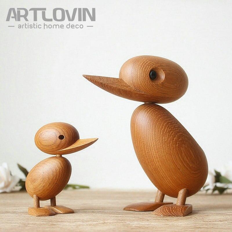 Neuheiten Nordic Dänemark Solide Teak Holz Ente Puppen Schöne Tier Ornament Und Dekoration Figuren Maskottchen Handwerk