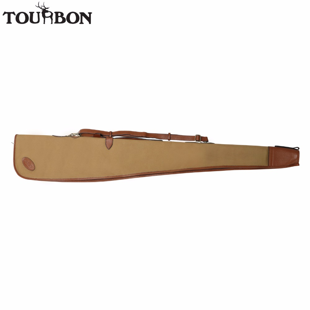 цена на Tourbon Tactical Vintage Canvas Shotgun Case Airsoft Gun Slip Bag Protection Carrier Brown for Shooting Hunting Gun Accessories