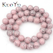 Stone Beads Turquoises Jewelry-Making Pink Bracelet Necklace Loose-Spacer-Beads Round