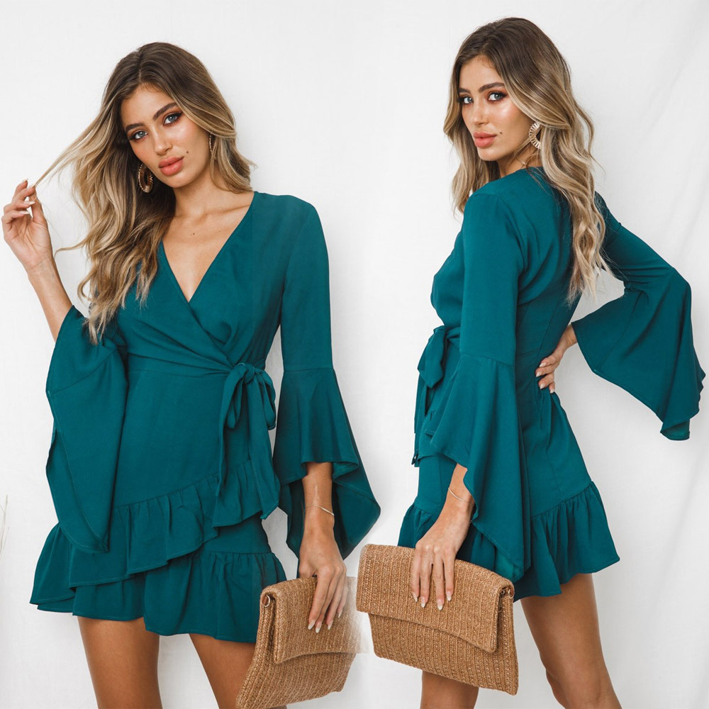 New women 39 s sexy V neck complete stitching dress fashion elegant crochet dress C0541 in Dresses from Women 39 s Clothing